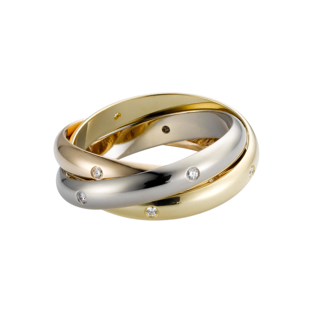 Trinity Ring Cartier 3-Gold, Diamonds B4038800