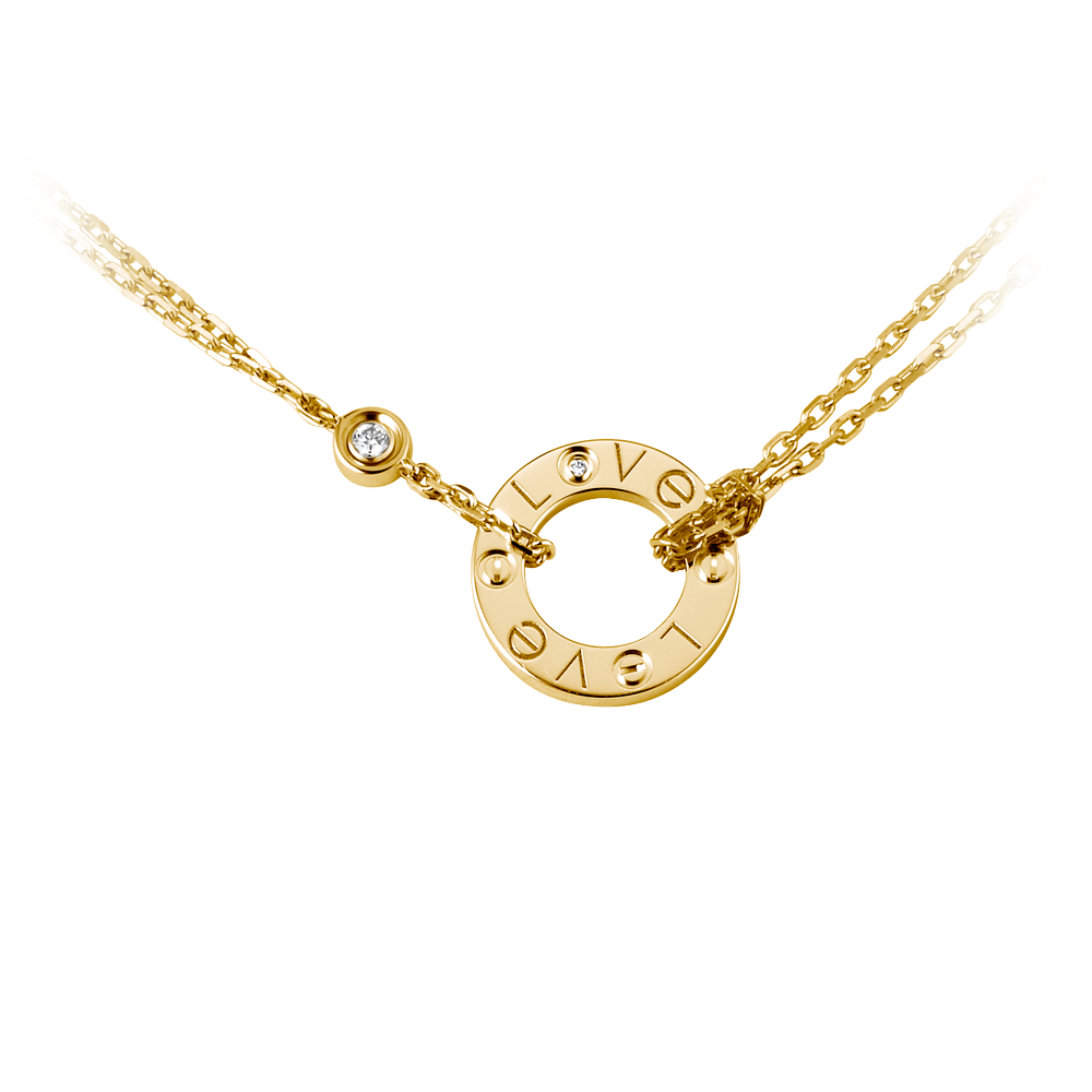 Cartier Love Necklace Yellow Gold, Diamonds B7219500