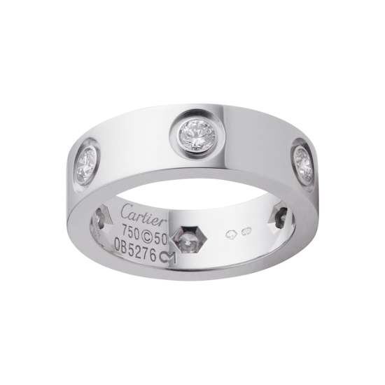 Replica Cartier Love Ring In White Gold Set With 6 Diamonds