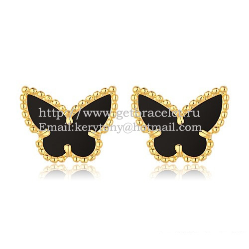 32d0c743de8a Van Cleef   Arpels Sweet Alhambra Butterfly Earrings Yellow Gold With Black  Onyx Mother Of Pearl